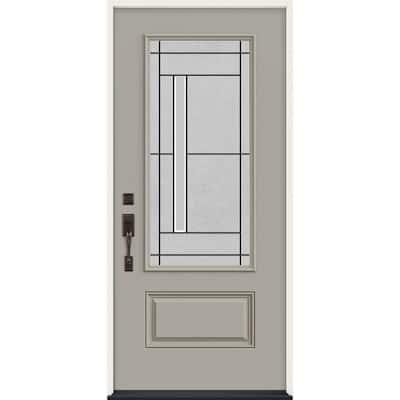 36 in. x 80 in. Right-Hand 3/4 Lite Decorative Glass Atherton Desert Sand Fiberglass Prehung Front Door