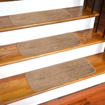 Softy Beige 9 in. x 26 in. Non-Slip Stair Tread Cover (Set of 13)