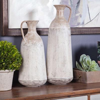 2-Piece White Metal Roma Pitcher Vase Set