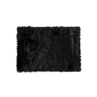 Hudson Black 3 ft. x 5 ft. Faux Sheepskin Indoor Area Rug