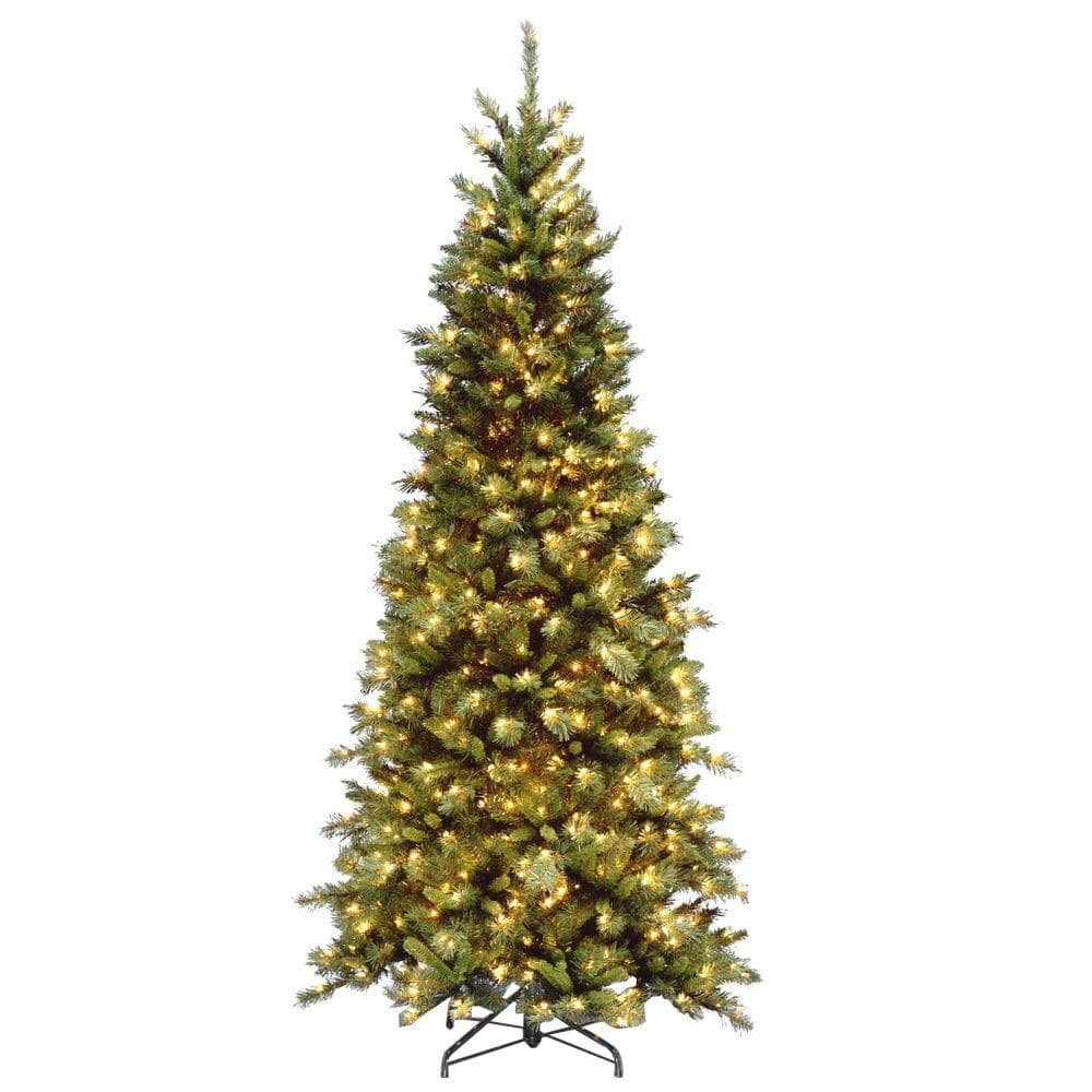 National Tree Company 7 5 Ft Tiffany Fir Slim Artificial Christmas Tree With Clear Lights Tfslh 75lo S3 The Home Depot