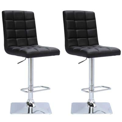 Adjustable Height Black Bonded Leather Swivel Bar Stool (Set of 2)