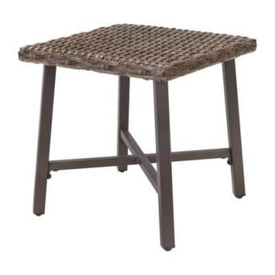 Rock Cliff 18 in. x 18 in. Steel Outdoor Side Table with Wicker Top