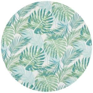 Barbados Green/Teal 7 ft. x 7 ft. Floral Indoor/Outdoor Round Area Rug