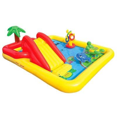 100 in. x 77 in. x 31 in. D Rectangular Inflatable Ocean Play Center Kids Backyard Kiddie Pool with Games