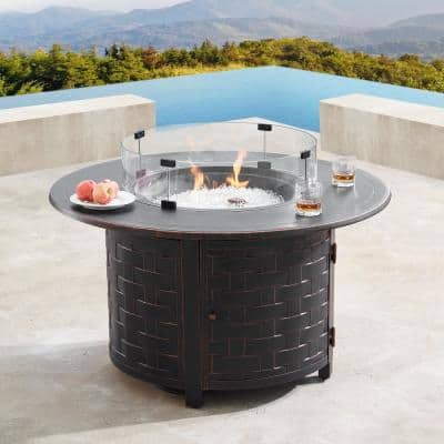 44 in. Round Aluminum Outdoor Propane Fire Table with Wind Blockers, Fire Beads, Lid, and Covers in Copper Finish