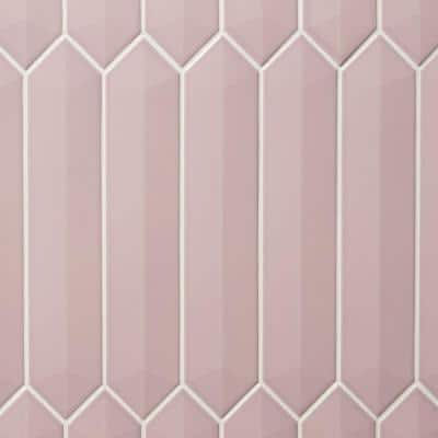 Axis 3D 2.6 in. x 13 in. Pink Polished Elongated Hex Ceramic Wall Tile (9.04 sq. ft. / case)