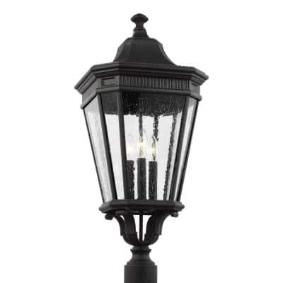 Cotswold Lane 3-Light Outdoor Black Post Light