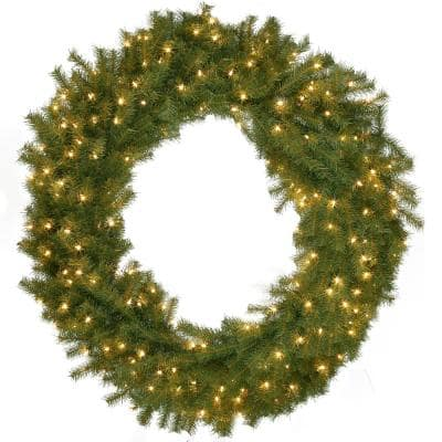 60 in. Norwood Fir Artificial Christmas Wreath with 300 White Lights
