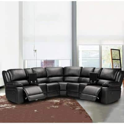 3 Piece 108.25 in. BlackPU Leather 5 Seats Symmetrical Mannual Motion Sofa Reclining Sectionals with Cup Holders