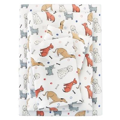 Jersey Knit Cotton Blend Twin XL Sheet Set in Dog