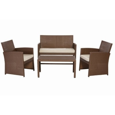 Park Trail Brown 4-Piece Wicker Patio Conversation Set with Light Brown Cushions