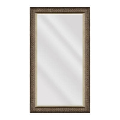 Large Rectangle Blonde With Brass Inlay Beveled Glass Contemporary Mirror (55.5 in. H x 31.5 in. W)