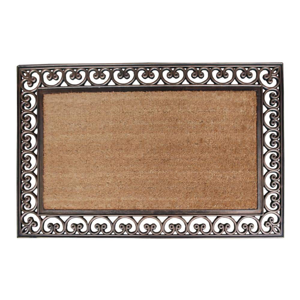 A1hc First Impression Classic Paisley Border Extra Large Double 30 In X 48 In Coir Door Mat A1home200085 The Home Depot