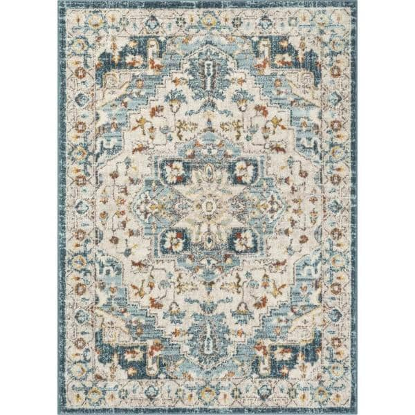 Well Woven Mystic Stella Blue Modern Vintage Medallion 7 Ft 10 In X 9 Ft 10 In Area Rug Mc 394 7 The Home Depot