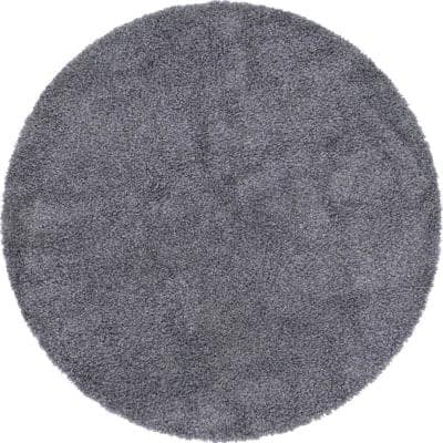 Davos Shag Peppercorn Gray 6 ft. x 6 ft. Round Area Rug