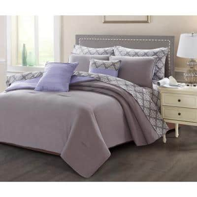 9-Piece Charcoal/Purple King Bed in a Bag Set
