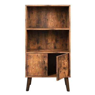 Brown 2-Tier Wooden Bookshelf with Storage Cabinet and Angled Legs