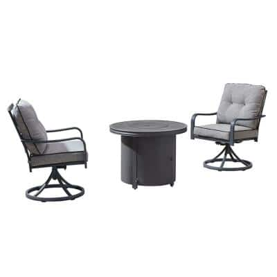 Davenport 3-Piece Aluminum Patio Conversation Set with Fire Pit and with Gray Cushions