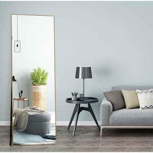 Lester 63 in. x 20 in. Modern Rectangle Aluminum Alloy Framed Gold Full-Length Standing Mirror