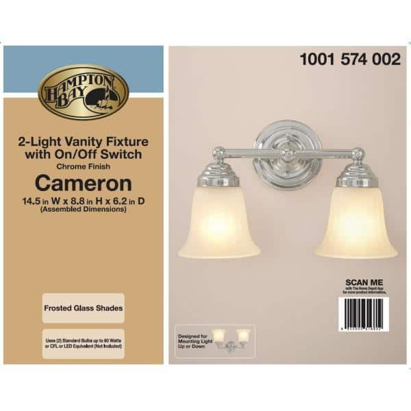 Hampton Bay Cameron 2 Light Chrome Bath Light Isr1392a 2 The Home Depot