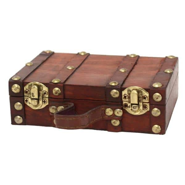 Vintiquewise - 6.5 in. x 4.3 in. x 2 in. Wood and Faux Leather Antique Style Small Mini Suitcase