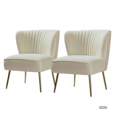 Monica Ivory Gold Legs Side Chair (Set of 2)