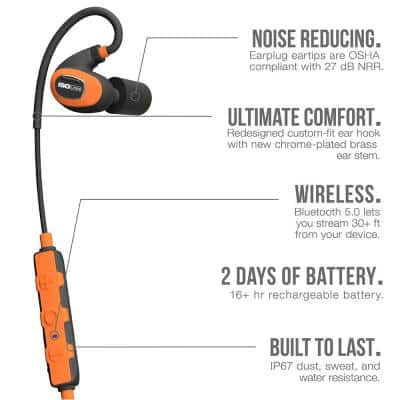 PRO 2.0 Bluetooth Hearing Protection Earbuds, 27 dB Noise Reduction Rating, OSHA Compliant Work Ear Protection (Orange)