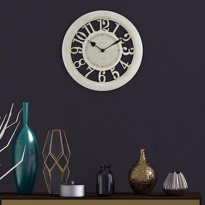 11.5 in. Delaney Quartz Antique White Wall Clock