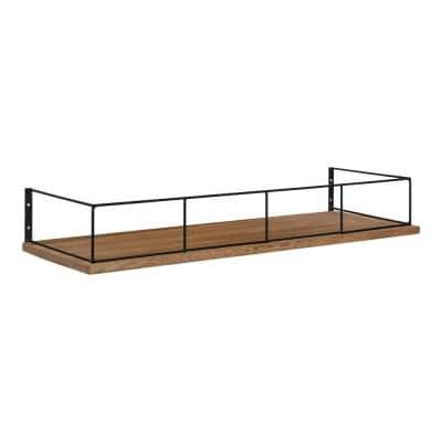 Benbrook 24 in. x 4 in. x 8 in. Rustic Brown/Black Decorative Wall Shelf