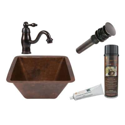 All-in-One Square Under Counter Hammered Copper Bathroom Sink in Oil Rubbed Bronze