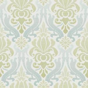 Blue and Green Nouveau Damask Blue and Green Wallpaper Sample