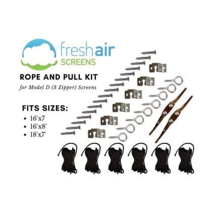 Rope and Pull Large kit fitting 3 Zippered Garage Screens up to 16 ft. Wide x 8 ft. High