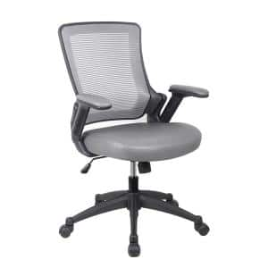 25 in. Width Big and Tall Gray Faux Leather Task Chair with Adjustable Height