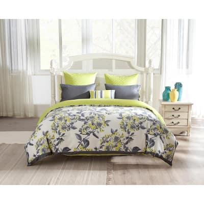 Etta Full/Queen Duvet Set Cotton Canvas Fabric in Grey-Citrus Green