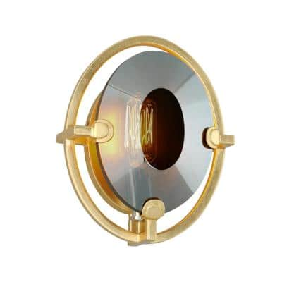 Prism 1-Light Gold Leaf Wall Sconce with Smoke Shade