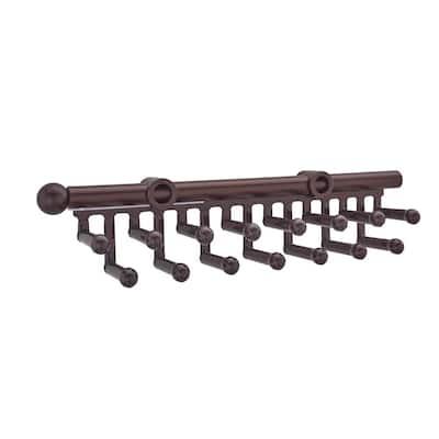 2.5 in. H x 2 in. W x 14 in. D Oil-Rubbed Bronze Pull-Out 15-Hook Tie/Scarf Rack