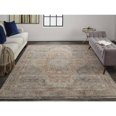 Gilford Rust/Denim Blue 2 ft. x 3 ft. Persian Polyester Area Rug
