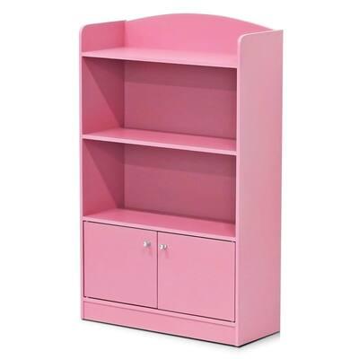 KidKanac 38.58 in. Pink Faux Wood 4-shelf Standard Bookcase with Doors