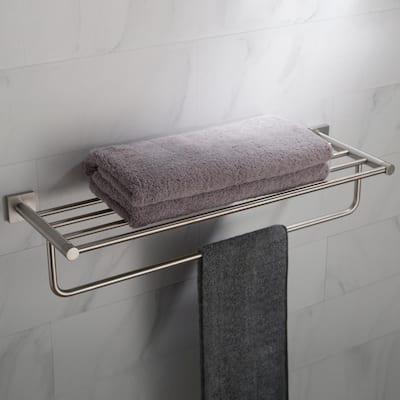 Ventus Bathroom Shelf with Towel Bar in Brushed Nickel