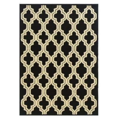 Le Soliel Collection Black and Ivory 5 ft. x 7 ft. Outdoor Area Rug