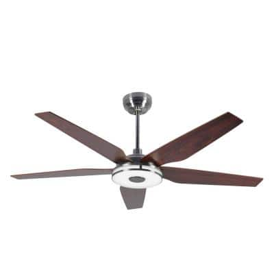 Explorer 56 in. Indoor/Outdoor Silver Smart Ceiling Fan, Dimmable LED Light and Remote, Works w/ Alexa/Google Home/Siri