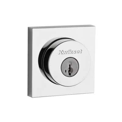 Square Contemporary Polished Chrome Single Cylinder Deadbolt Featuring SmartKey Security