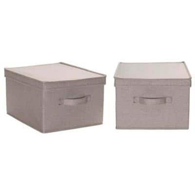 5 Gal. Large Storage Box in Silver Linen (2-Piece)