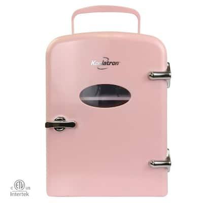 0.14 cu. ft. Retro Portable Mini Fridge Cooler in Pink without Freezer