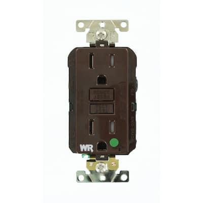 15 Amp SmartlockPro Hospital Grade Extra Heavy Duty Weather/Tamper Resistant Duplex GFCI Outlet, Brown