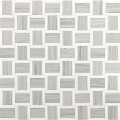 Peoria 12 in x 12 in. x 10mm Polished Marble Mesh-Mounted Mosaic Tile (10 sq. ft. / case)