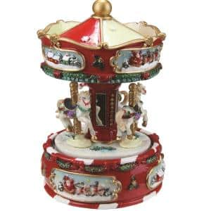 6.25 in. Animated Musical Carousel with Canopy and 3 Horses Christmas Music Box