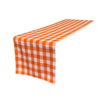 14 in. x 108 in. White and Orange Polyester Gingham Checkered Table Runner
