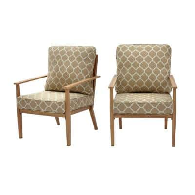 Alderton Brown Steel Outdoor Patio Lounge Chair with CushionGuard Toffee Trellis Tan Cushions (2-Pack)